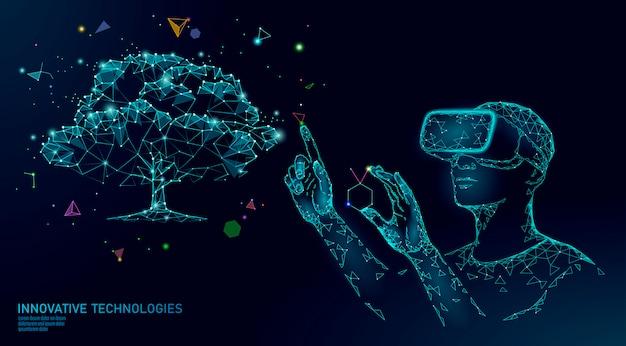 Koncepcja inżynierii drzewa wirtualnej cyfrowej biotechnologii. 3d render vr hełm suplement witaminy rozszerzonej rzeczywistości.