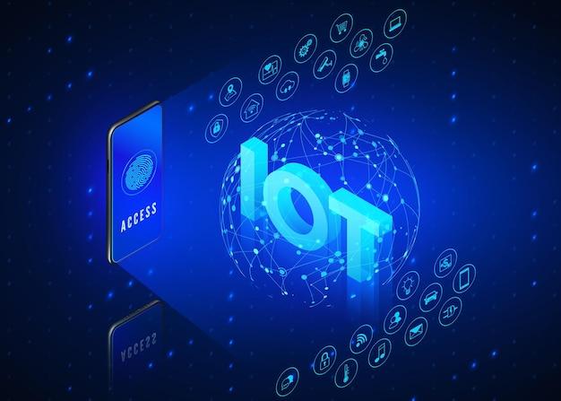 Koncepcja iot. internet przedmiotów. telefon komórkowy monitoruje i kontroluje wszystkie inteligentne systemy w domu.