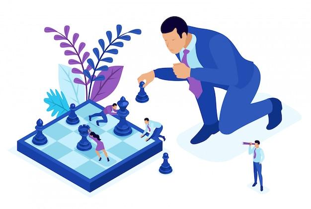 Koncepcja isometric bright, wielki biznes, podejmuje świadomą decyzję, gra w szachy, strategię rozwoju. koncepcja dla sieci