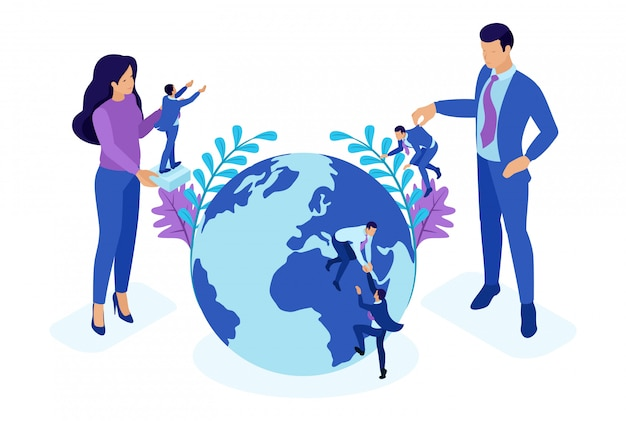 Koncepcja isometric bright wielki szef wybiera małych ludzi i umieszcza ich na całym świecie. koncepcja dla sieci