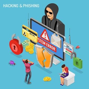 Koncepcja izometryczna aktywności hakerów. hakowanie i phishing. haker kradnie hasło, kartę kredytową i e-mail. internet security wektor z płaskimi izometrycznymi ikonami ludzi, zhakowanym zamkiem, błędem i komputerem