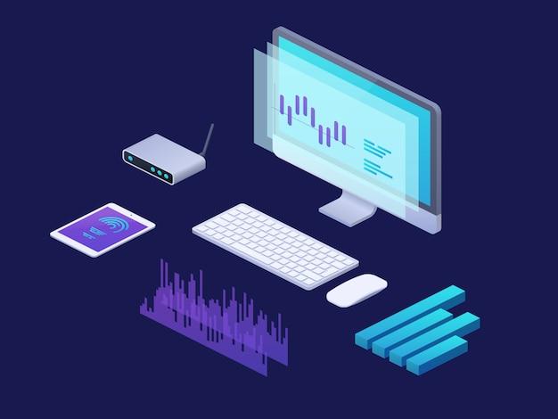 Koncepcja izometryczna cyfrowej analityki biznesowej. 3d infographic plansza z laptopem, pastylka finansowe mapy.