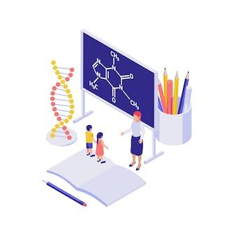 Koncepcja izometryczna edukacji naukowej z modelową tablicą dna uczniów nauczycielem ilustracja 3d
