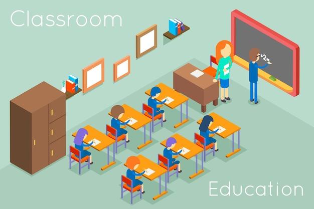 Koncepcja izometryczna edukacji w klasie szkolnej. wnętrze klasy do lekcji, sala ilustracyjna z nauczycielem i uczniami