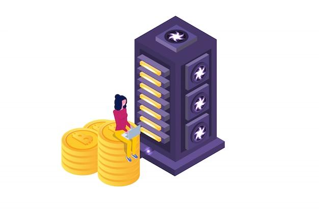 Koncepcja izometryczna górnictwa bitcoin farmy ultrafioletowej. ilustracji wektorowych.