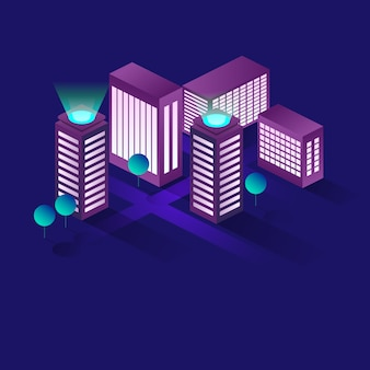 Koncepcja izometryczna inteligentnego miasta lub inteligentnego budynku.