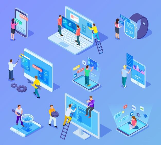 Koncepcja izometryczna interfejsów ludzi i aplikacji. użytkownicy i programiści pracują z interfejsem telefonu komórkowego i komputera. 3d wektor zestaw ikon