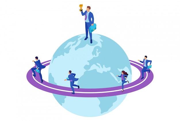 Koncepcja izometryczna jasna strona biznesmen na szczycie świata, przedsiębiorcy konkurują o przywództwo. koncepcja projektowania stron internetowych