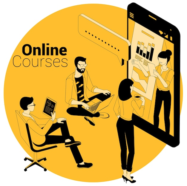 Koncepcja izometryczna kursów online, edukacji, szkoleń, nauki i samouczków wideo.