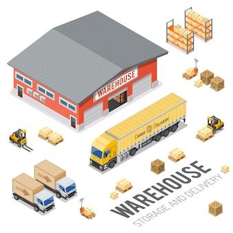 Koncepcja izometryczna magazynu, przechowywania, logistyki i dostawy z ikonami magazynu, ciężarówki, wózka widłowego. ilustracja wektorowa na białym tle