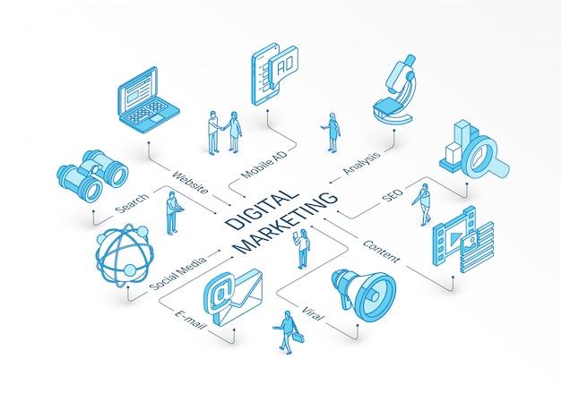 Koncepcja izometryczna marketingu cyfrowego. zintegrowany system infografiki. praca zespołowa ludzi. treść wirusowa, e-mail, symbol strony internetowej. reklama mobilna, analiza social media, piktogram seo