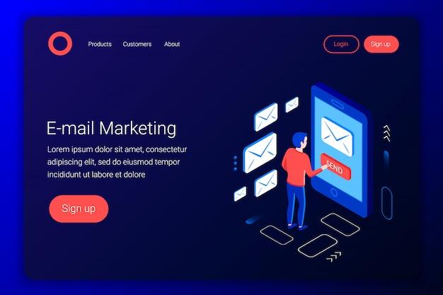 Koncepcja izometryczna marketingu e-mailowego. projekt komunikacji. ekspert ds. marketingu wysyła e-maile. płaski styl 3d. szablon strony docelowej. ilustracja.