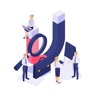 Koncepcja izometryczna marki marketingu utrzymania klienta z ludźmi i ilustracją 3d z ogromnym magnesem