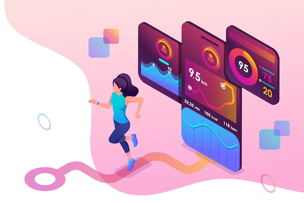 Koncepcja izometryczna młoda dziewczyna jogging, uruchomiona aplikacja mobilna śledzi trening, sygnał gps.