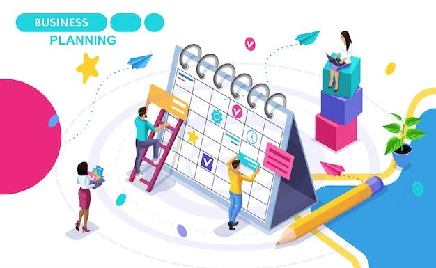 Koncepcja izometryczna planowania biznesowego, opracowywanie harmonogramów rozwoju biznesu. izometryczne ludzi w ruchu. koncepcje banerów internetowych i materiałów drukowanych