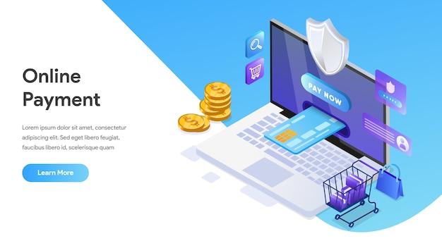 Koncepcja izometryczna płatności online dla strony docelowej, strony głównej, witryny internetowej