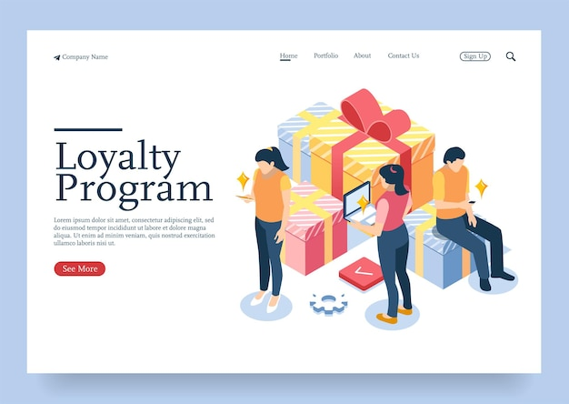 Koncepcja izometryczna projektu cyfrowego zestaw ikon 3d dla programu lojalnościowego z postaciami