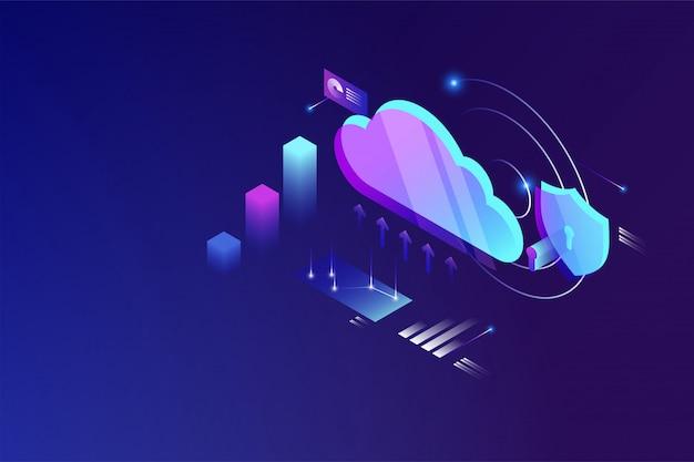Koncepcja izometryczna przetwarzania danych w chmurze. technologia przechowywania danych w chmurze online
