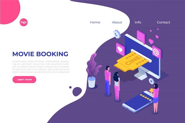 Koncepcja izometryczna rezerwacji biletów do kina online. aplikacja mobilna. ilustracja