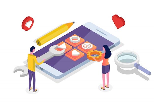 Koncepcja izometryczna rozwoju aplikacji mobilnych. szablon strony docelowej. ilustracja.