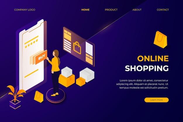 Koncepcja izometryczna szablonu strony docelowej sklepu internetowego z fioletowym i pomarańczowym kolorem tła