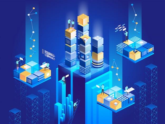 Koncepcja izometryczna technologii. bloki cyfrowe łączą się ze sobą.