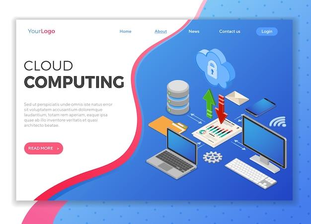 Koncepcja izometryczna technologii cloud computing z ikony komputera, laptopa, smartfona, bazy danych i strzałki. serwer bezpieczeństwa w chmurze. szablon strony docelowej. odosobniony