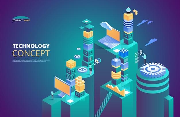 Koncepcja izometryczna technologii. kryptowaluta i blockchain. abstrakcyjna przyszłość high-tech