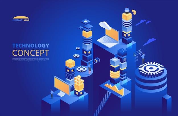 Koncepcja izometryczna technologii. kryptowaluta i blockchain.