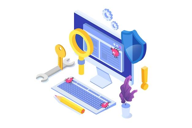 Koncepcja izometryczna testowania oprogramowania lub aplikacji. debugowanie procesu rozwoju.
