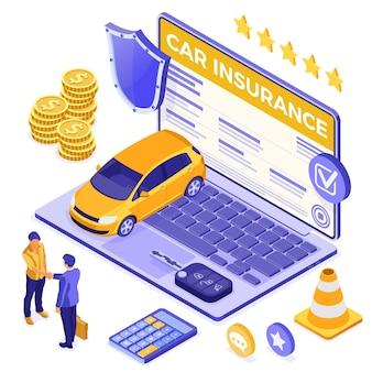 Koncepcja izometryczna ubezpieczenia samochodu online na plakat, witryna sieci web