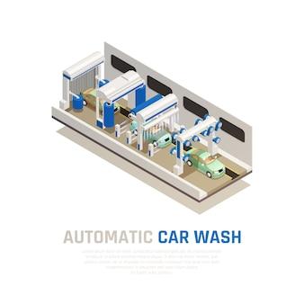 Koncepcja izometryczna usługi myjni samochodowej z symbolami automatycznych myjni samochodowych