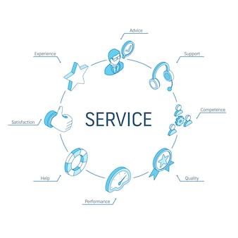 Koncepcja izometryczna usługi. połączone ikony 3d linii. zintegrowany system projektowania infografik okręgu. symbole wsparcia, doświadczenia, porad i pomocy