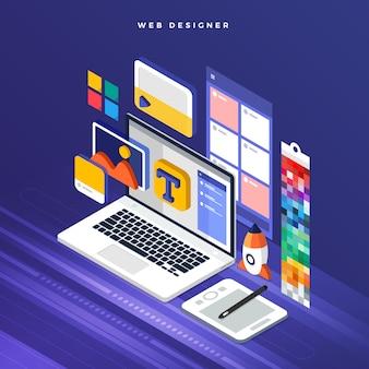 Koncepcja izometryczna web er. ilustracja. projekt układu strony internetowej.