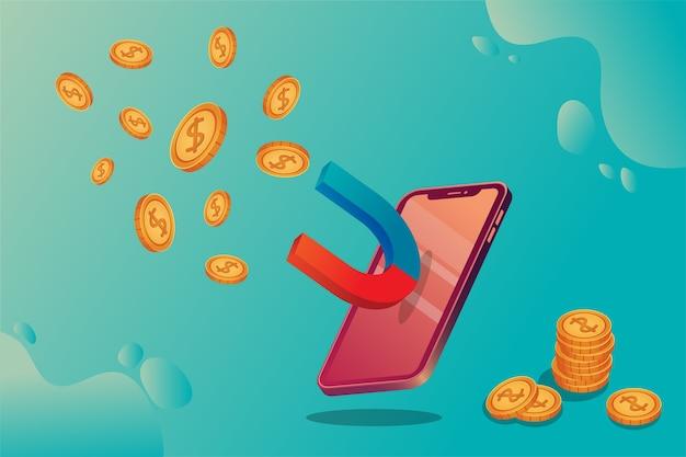 Koncepcja izometryczna ze smartfonem i pieniędzmi