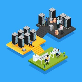 Koncepcja izometrycznego centrum danych z kobietami pracującymi w biurze, a inżynierowie naprawiają i utrzymują izolowane serwery hostingowe