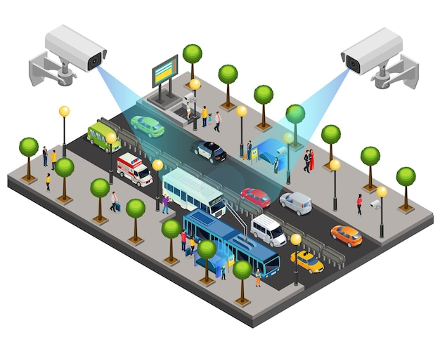 Koncepcja izometrycznego systemu bezpieczeństwa miasta z kamerami cctv do monitorowania i nadzoru na drogach na białym tle