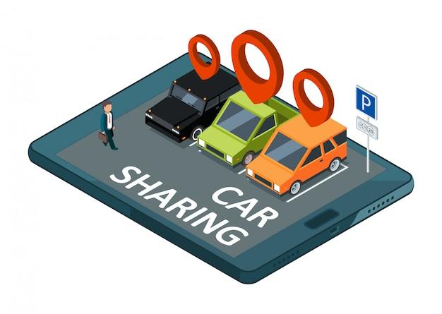 Koncepcja izometrycznego udostępniania samochodu. parking aplikacji mobilnej z samochodami i ilustracją biznesmena