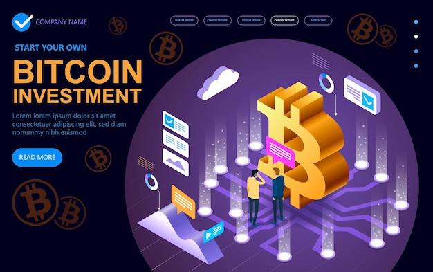 Koncepcja izometrycznej witryny nowoczesnego biznesu poświęcona bitcoinom, izometrycznym banerowi koncepcji wektorowej, koncepcji izometrycznej wektora marketingu i finansów. ilustracji wektorowych