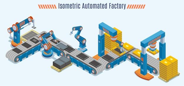 Koncepcja izometrycznej zautomatyzowanej linii produkcyjnej z przemysłowym przenośnikiem taśmowym i mechanicznymi ramionami robotów na białym tle