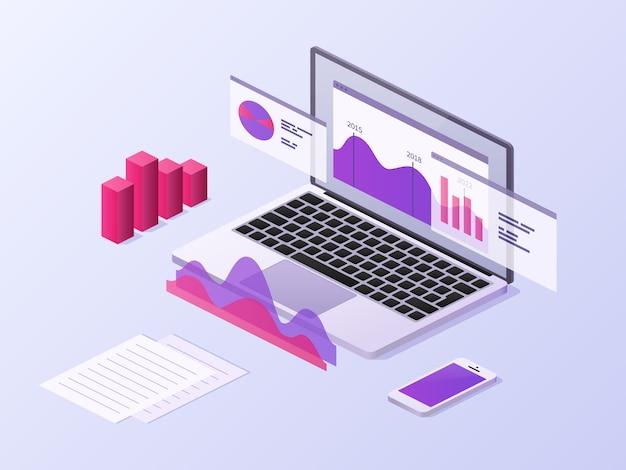 Koncepcja izometryczny aplikacji biznesowych. 3d laptop i smartfon z wykresami danych i diagramami statystyk. tło wektor technologii mobilnych