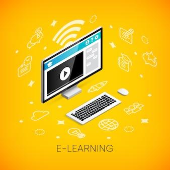 Koncepcja izometryczny banner e-learningu. 3d komputer stacjonarny z lekcją wideo na ekranie, ikonach i tekście monitora. edukacja online, kursy szkoleniowe, ilustracje szkół i uniwersytetów online