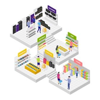 Koncepcja izometryczny centrum handlowego
