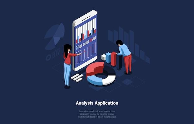 Koncepcja izometryczny ilustracja aplikacji analitycznej do użytku biznesowego lub osobistego. postaci z kreskówek pracujących nad schematem, wykresem i wykresem. duży smartfon z różnymi napisami, diagramami.