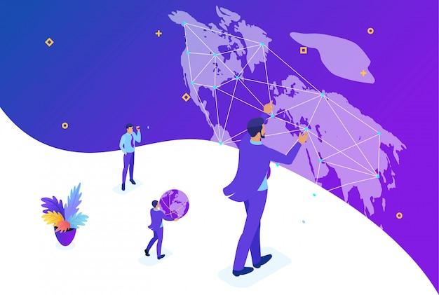 Koncepcja izometryczny koncepcja jasny koncepcja big biznesmen z systemem świata, mapa świata. koncepcja projektowania stron internetowych
