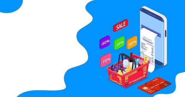 Koncepcja izometryczny online zakupy spożywcze. można użyć do banera internetowego, infografiki. ilustracja wektorowa w stylu płaski