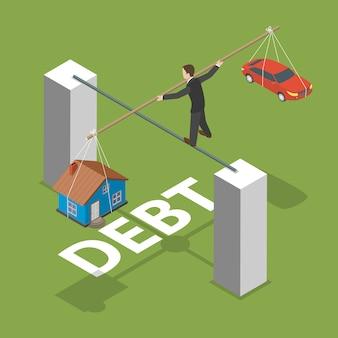 Koncepcja izometryczny płaski dług wektor.