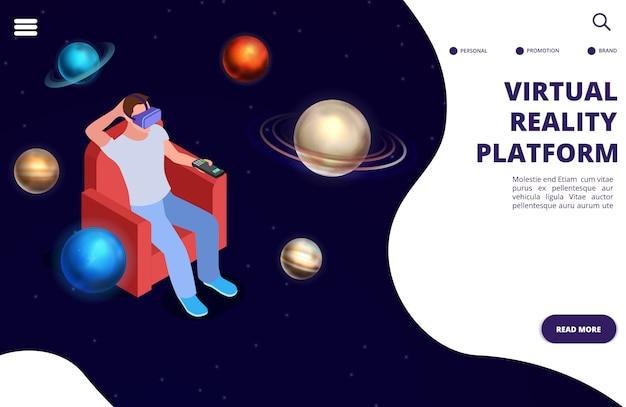 Koncepcja izometryczny podróży wirtualnej przestrzeni kosmicznej. ilustracja rzeczywistości rozszerzonej przestrzeni