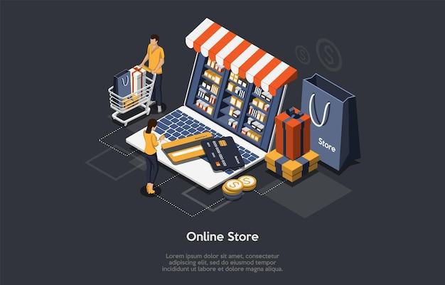 Koncepcja izometryczny sklepu internetowego. klienci zamawiają i kupują towary online. zakup prezentów online, aplikacja w sklepie z upominkami, koncepcja zakupu telefonu komórkowego