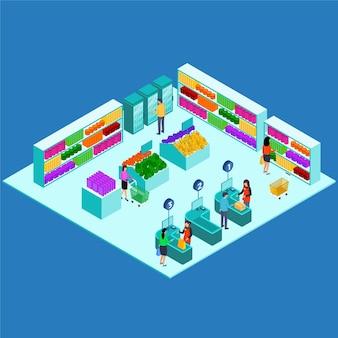 Koncepcja izometryczny supermarket